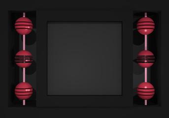 Abstrakter Hintergrund mit Würfeln und Kugeln in rose, schwarz und grau. 3d render