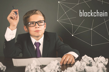 Successfully boy earning money with bitcoin cryptocurrency.