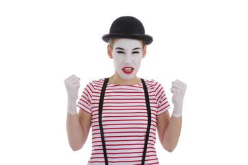 jeune fille mime maquillage blanc théâtre mimant la colère