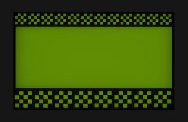 Abstrakter Hintergrund mit Balken aus Würfeln mit Schachbrettmuster in apfelgrün und schwarz. 3d render