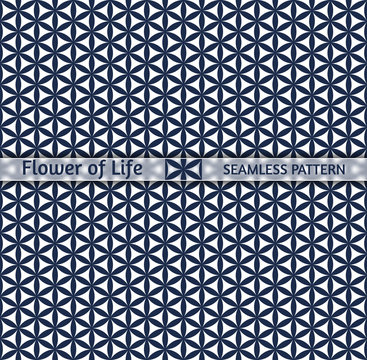 """Sacred geometry, seamless pattern """"Flower of life"""". Easily repainted in any color, designed for printing, web design and decoration for the Chinese New Year"""