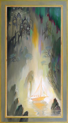 Irradiation. Fantasy fairyland landscape. Oil painting on wood.