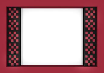 Abstrakter Hintergrund in Kastenform mit Balken aus Würfeln mit Schachbrettmuster in altrosa, schwarz und weiß. 3d render