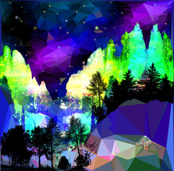 Night northern landscape with aurora, mountains and silhouettes of trees. Dark mountain landscape of polygons with stars and glowing dramatic sky