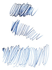 Pencil stroke of curl, blue line bitmap.Grunge texture. Graphical chaotic line. Linear creative messy stroke.