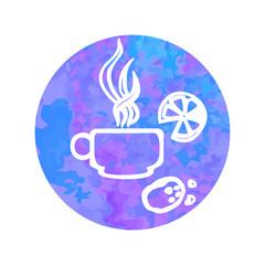 Vector hand drawn icon cap of tea