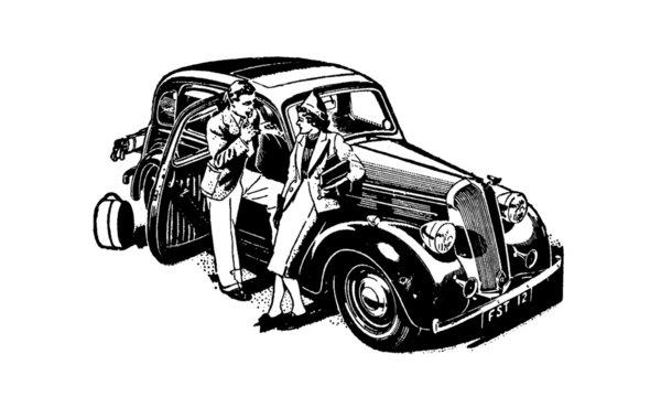 Vintage Retro Classic Car Illustration