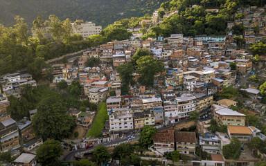 Aerial view of Favela in Cosme Velho in Rio de Janeiro, Brazil