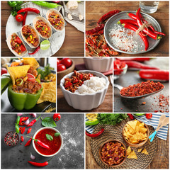 Collage of different tasty dishes with chili pepper