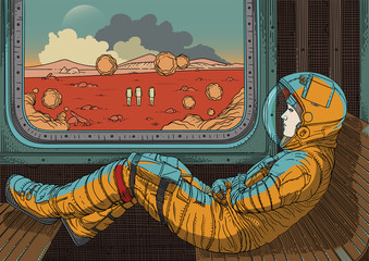 Girl on train. Vector illustration with astronaut traveling by rail on Mars. Martian landscape outside window. Colonization of red planet. Fantastic world of future