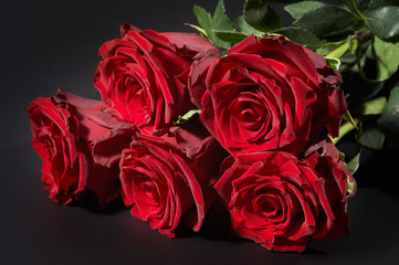 Five red roses on black background, isolated