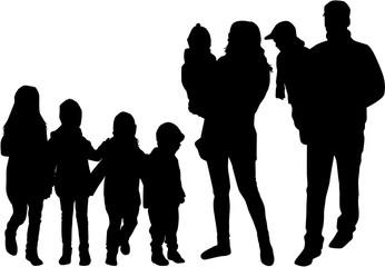Family black silhouettes.