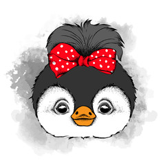 Lovely penguin girl with bow on head. Vector illustration
