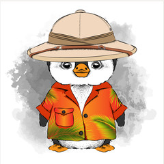 Penguin in a summer bright pool with palm trees and a hat of a traveler. Vector illustration