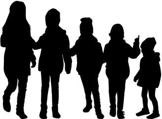 Childrens black silhouettes.