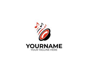Sound speaker and musical notes logo template. Woofer vector design. Subwoofer illustration