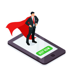 HR concept. Superhero on a smartphone screen isolated on a white background.