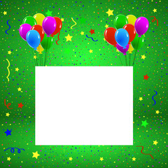 Greeting or Birthday Card with Balloons Confetti Copy Space