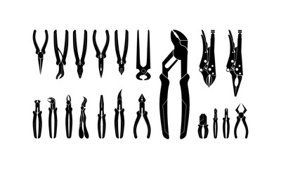 Set of Various Pliers, Pincer and Forceps Silhouette vector illustration