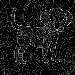 Dog anti stress vector coloring book for adult. Isolated ornament on white background with doodle and zentangle elements. Freehand ethnic drawing for tattoo or logo template, decorative piece, page