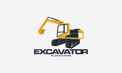Excavator logo designs concept vector illustration