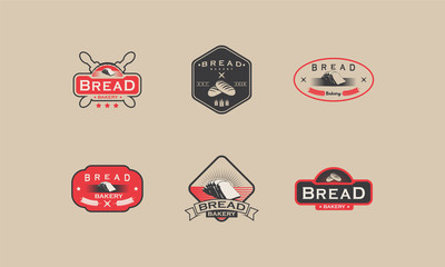 set of Vintage Bakery logo badge designs, Bread logo designs badge vector illustration