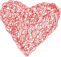 grungy heart scribble, love symbol,vector illustration