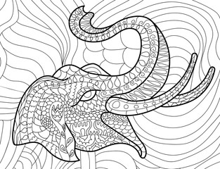 Elephant anti-stress coloring book for adults