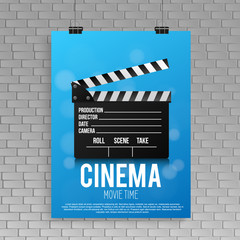 Realistic blue cinema poster in a frame with a picture hanging on a textured gray brick wall, a template for a layout, a layout and a work of art a concept poster design template. vector illustration.