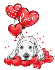 Cute dog with hearts, glasses and a tie. Vector illustration for a postcard or a poster, print for clothes. Valentine's Day, love and friendship. Purebred puppy in clothes and accessories.