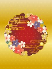 金と桜と雲の和柄の背景