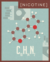 Retro style scientific poster of the molecular formula and structure of nicotine.