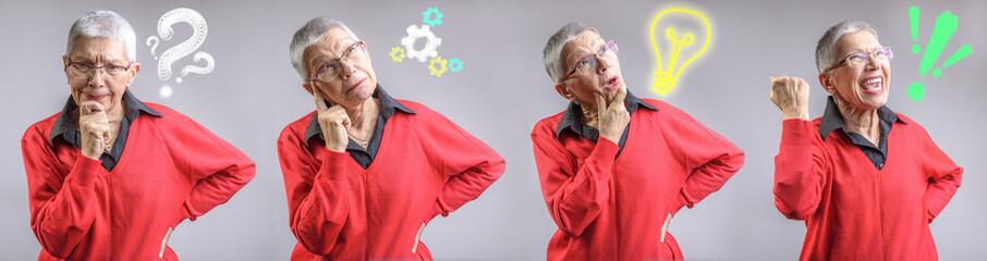 Idea creation process in a senior woman's mind, problem, thinking, idea, solution