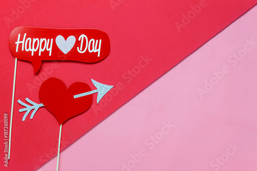 Table top view aerial image of sign valentine s day background ...