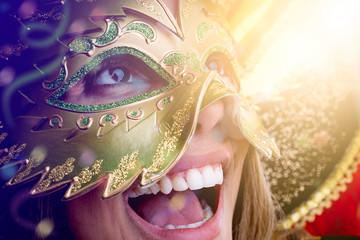 Woman wearing carnival costume