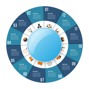 Circle chart infographic template with 12 options for presentations, advertising, layouts, annual reports