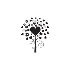 love tree with hearts icon. Valentine's Day elements. Premium quality graphic design icon. Simple love icon for websites, web design, mobile app, info graphics