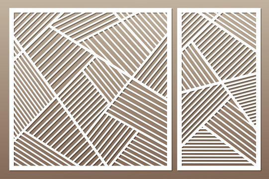 Set decorative card for cutting. Geometric line pattern. Laser cut. Ratio 1:1, 1:2. Vector illustration.