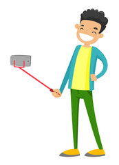 Happy smiling caucasian white teenager boy taking selfie photo or recording video with smartphone and selfie stick. Vector cartoon illustration isolated on white background.
