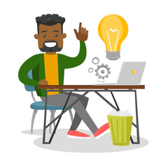 Young african businessman sitting at workplace with bright ligh bulb and pointing finger up because he came up with successful business idea. Vector cartoon illustration isolated on white background.
