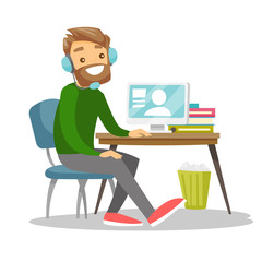 Caucasian white businessman using headset and computer in call center. Young cheerful gamer in headphones playing video game on a computer. Vector cartoon illustration isolated on white background.