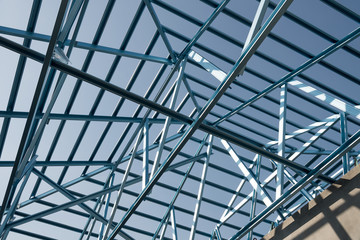 Structure of steel roof frame for building construction.