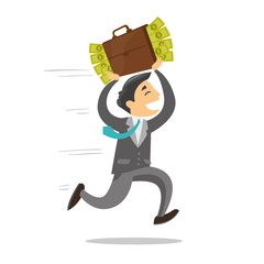 Young corrupt caucasian white businessman running with briefcase full of money. Concept of corruption, bribery and economic crime. Vector cartoon illustration isolated on white background.