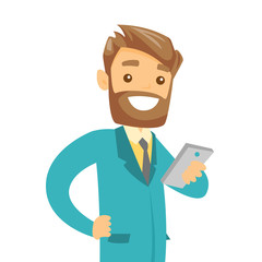 Young caucasian white hipster businessman with beard looking at mobile phone screen. Happy businessman using smartphone. Vector cartoon illustration isolated on white background.
