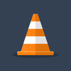 orange traffic cone flat design