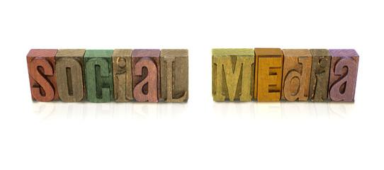 Social Media Wood Block art for Website Banner / Header