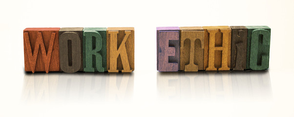 Work Ethic Word Block Letters on Isolated White Background
