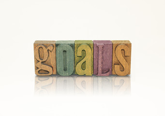 Goals Word Block Letters - Isolated White Background