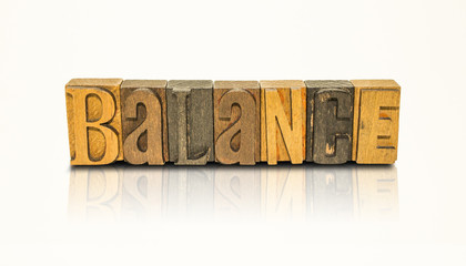 Balance Word Block Letters - Isolated White Background