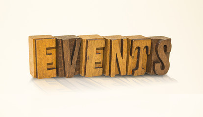 Events Word Block Letters - Isolated White Background